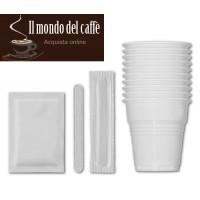 kit bicchieri palette zucchero per caffè confezione da 100 pezzi
